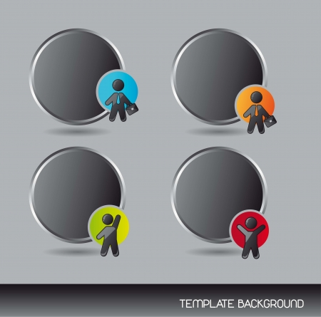 black template with businessman over gray background. vector Vector