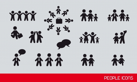 group people: black people icons, famlies and businessman. vector illustration