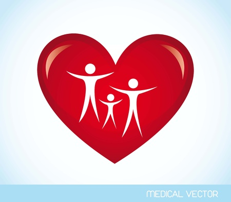 healthy family: family over red heart over blue background. vector illustration