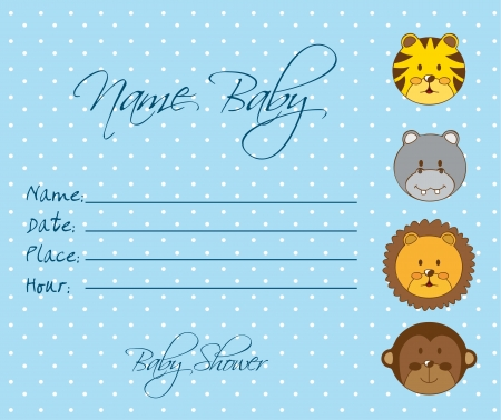blue baby shower invitation card with animals. vector illustration Vector