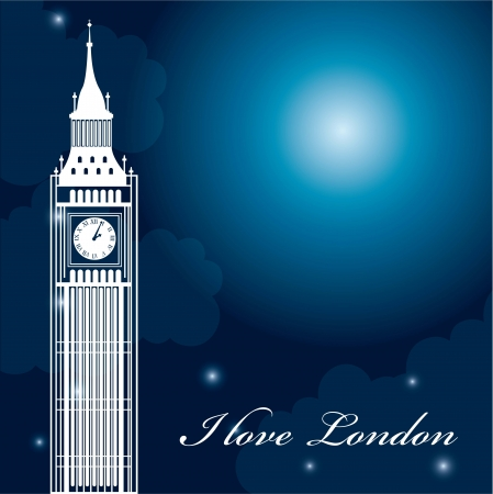 river thames: big ben over beautiful night with stars. vector illustration