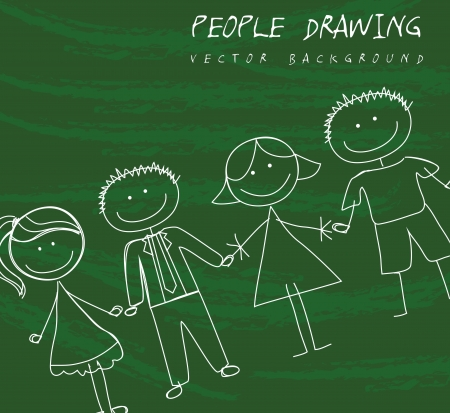 people drawing over green background. vector illustration Vector