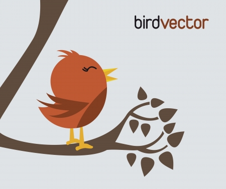 red bird over brown three background. vector illustration  Vector