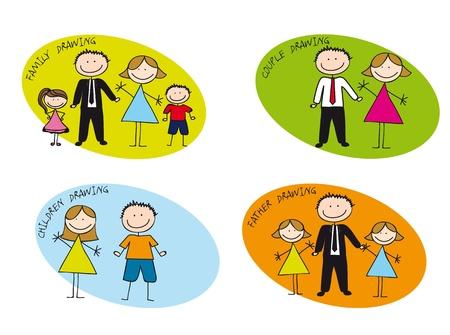 mum and daughter: famiglie colorato disegnato ove sfondo bianco. illustrazione vettoriale Vettoriali