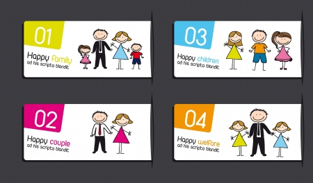 labels with families over gray background. vector illustration Vector