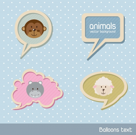 cute animals over balloons text over blue background. vector illustration Vector
