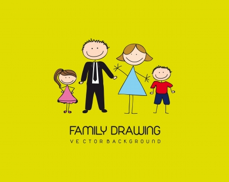 family drawing over green background. vector illustration Vector