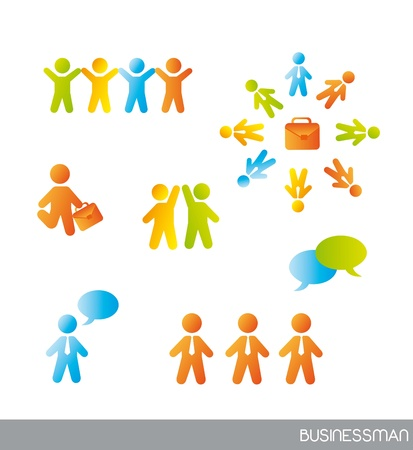merger: colorful businessman icons over white background. vector Illustration