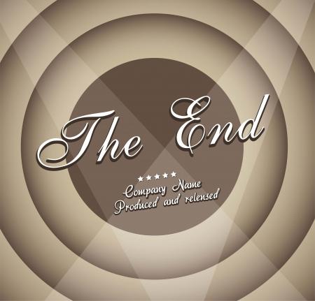 hollywood star: vintage movie ending screen, grunge. vector illustration  Illustration