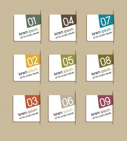 one by one: step by step with numbers over brown background. vector illustration