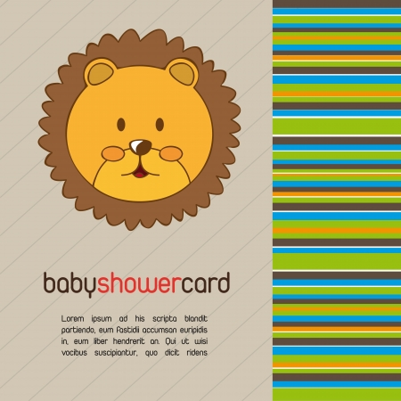 baby shower card with cute face lion. vector illustration Vector