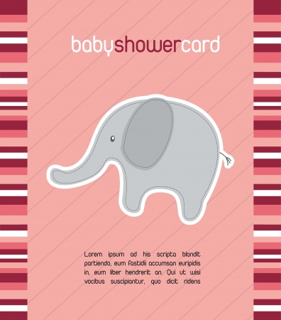 pink baby shower card with cute elephant. vector illustration Vector