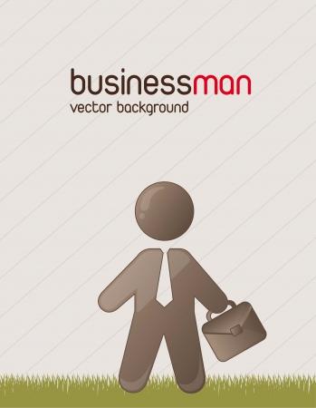 cute busissman over grass background. vector illustration Stock Vector - 14553010