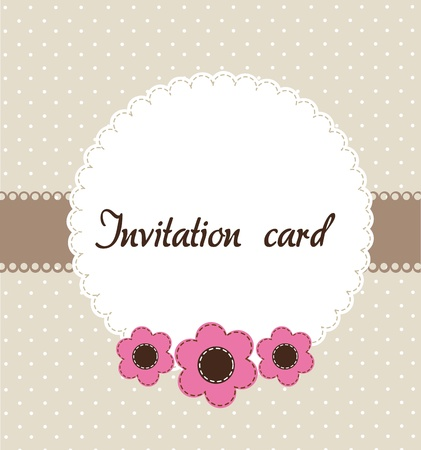 beige invitation card with pink flowers. vector illustration Vector