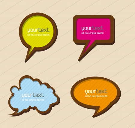 colorful balloons text over beige background. vector illustration Vector