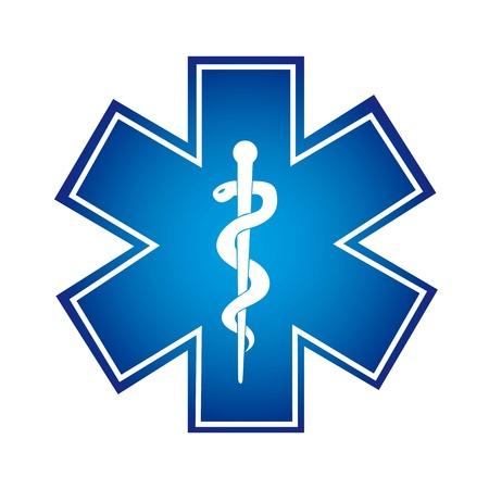 caduceo: símbolo médico azul aislado sobre fondo blanco. ilustración vectorial Vectores