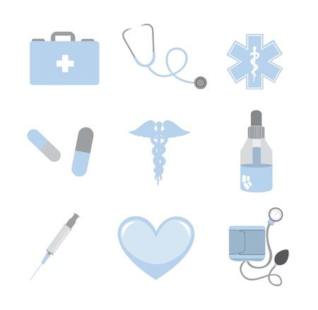 botiquin de primeros auxilios: Iconos m�dicos azules y grises aislado sobre fondo blanco. vector