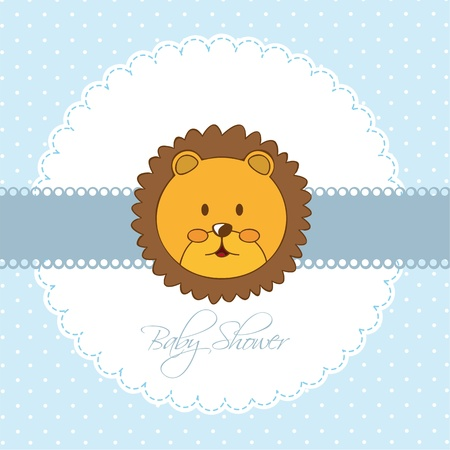 blue baby shower card with face lion. vector illustration Stock Vector - 14553018