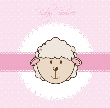 pink baby shower card with cute sheep. vector illustration Stock Vector - 14553013