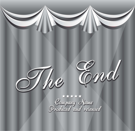 Movie ending screen with curtain. vector illustration