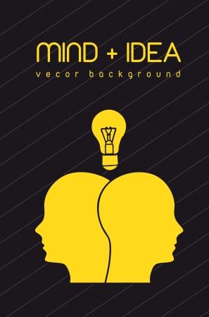 intellect: faccia silhouette con bulbo, la mente e idea. illustrazione vettoriale