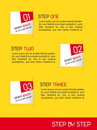 tutorial: paper desing numbered over yellow background. vector illustration