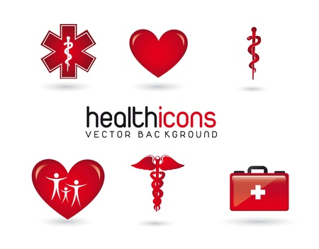 red health icons with shadow over white background. vector Stock Vector - 14553004