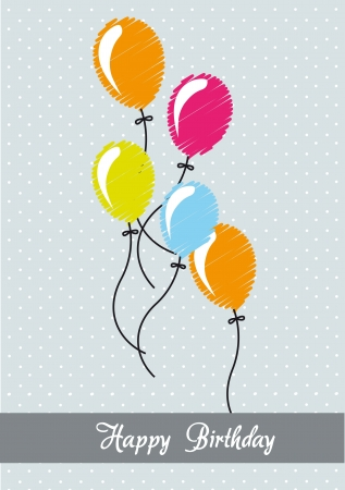 air balloons scribbled, birthday card. vector illustration Vector