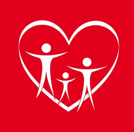family physician: family and heart over red background. vector illustration