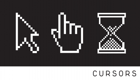 Cursor icon over black background Vector