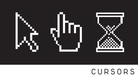 sandglass: Cursor icon over black background Illustration