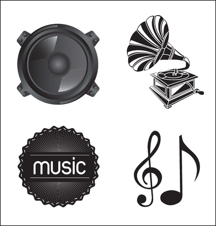 different musical icons over white background Vector