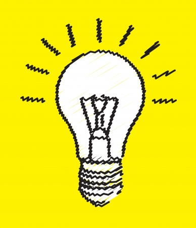 lightbulb representing an idea over yellow background Vector