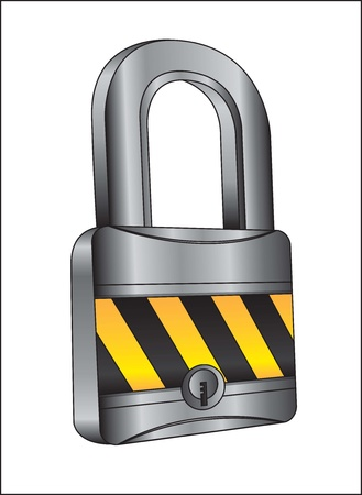 chrome lock with caution tape  Stock Vector - 14653191