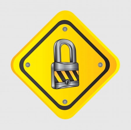 chrome lock with caution tape over road sign Stock Vector - 14653243