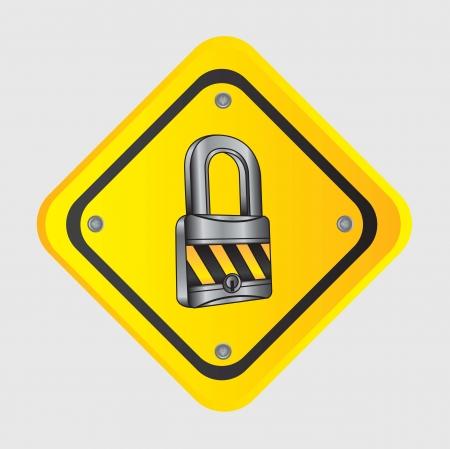 guard duty: cromado cerradura con cinta de precauci�n en se�al de tr�fico Vectores