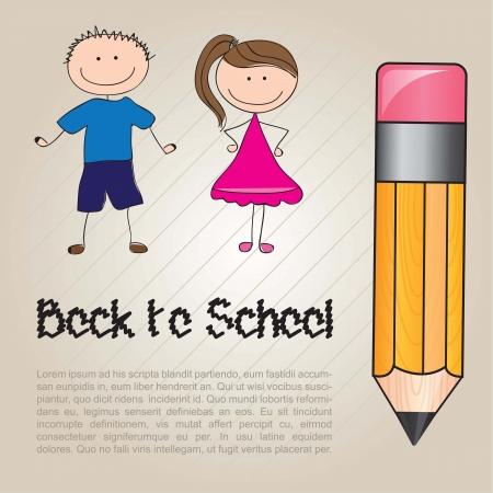 ni�os con l�pices: tarjeta de regreso a la escuela con dos hijos Vectores