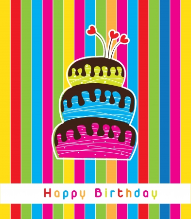 birthday card with a big cake Stock Vector - 14654949