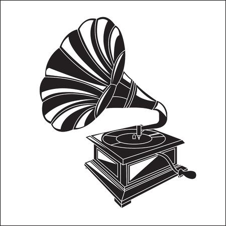 antike Musikinstrument. Gramophone über weißem Hintergrund
