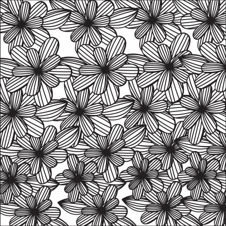 backkground: Decorative black flower background. Vector illustration
