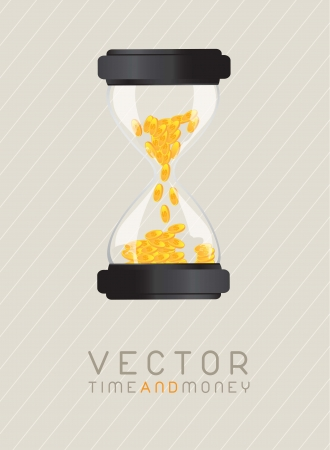 Time and money hourglass. vector illustration  Stock Vector - 14654547