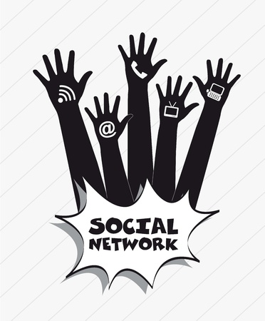 communication icons with hands, social network. vector illustration Vector