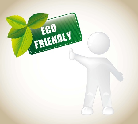 eco friendly tag with white men. vector illustration Vector