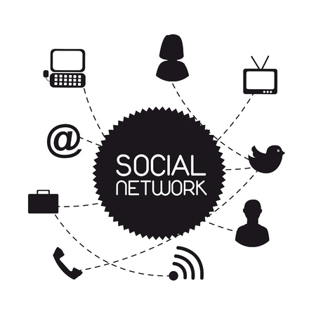 black communication icons, social network. vector illustration Stock Vector - 14654898