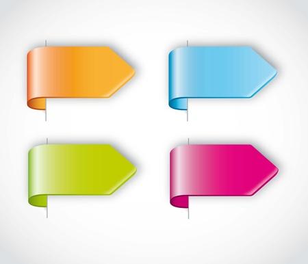 etiquetas redondas: etiquetas coloridas flechas sobre fondo gris. ilustraci�n vectorial