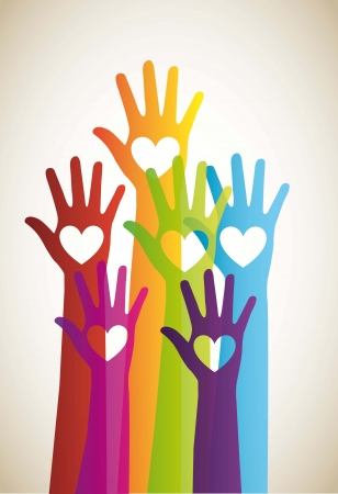 hand up: colorful hands with hearts background. vector illustration