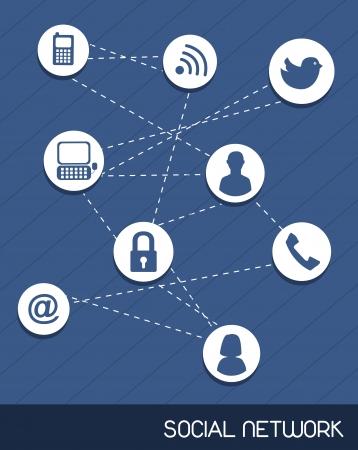 ic�nes de r�seaux sociaux sur fond bleu. illustration vectorielle Illustration