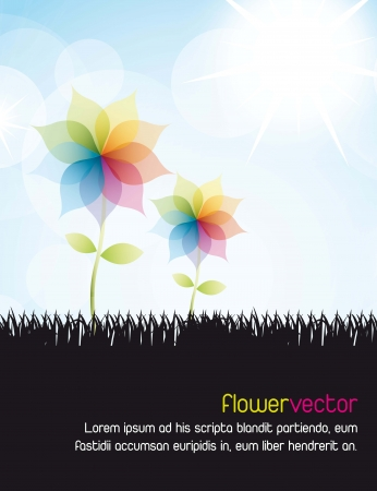 fuschia: colorful flower over silhouette grass and sky. vector illustration Illustration