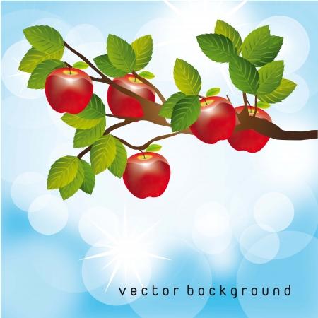 frutas divertidas: manzano en el cielo hermoso, de fondo. ilustración vectorial