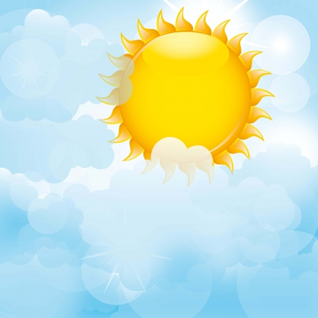 cloudy day: blue clouds with sun background. vector illustration